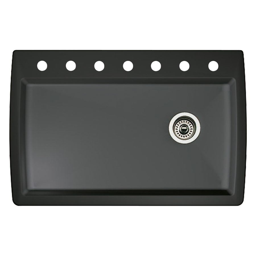 BLANCO Diamond 22-in x 33.5-in Anthracite Single-Basin Granite Drop-in or Undermount 7-Hole Residential Kitchen Sink
