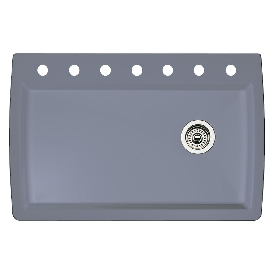 BLANCO Diamond 22-in x 33.5-in Metallic Gray Single-Basin Granite Drop-in or Undermount 7-Hole Residential Kitchen Sink