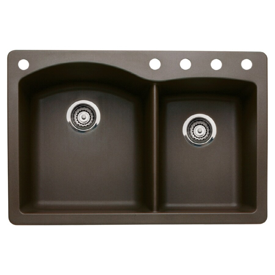 BLANCO Diamond 22-in x 33-in Cafe Brown Double-Basin Granite Drop-in or Undermount 5-Hole Residential Kitchen Sink