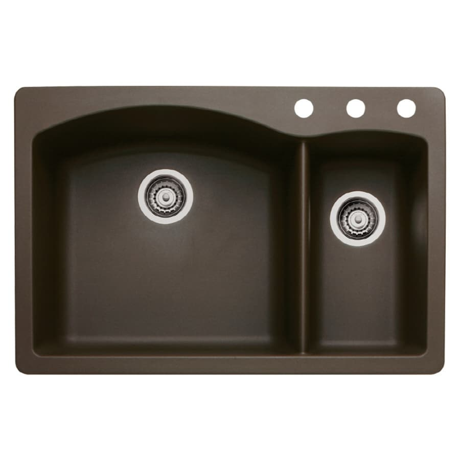 BLANCO Diamond 22-in x 33-in Cafe Brown Double-Basin Granite Drop-in or Undermount 3-Hole Residential Kitchen Sink
