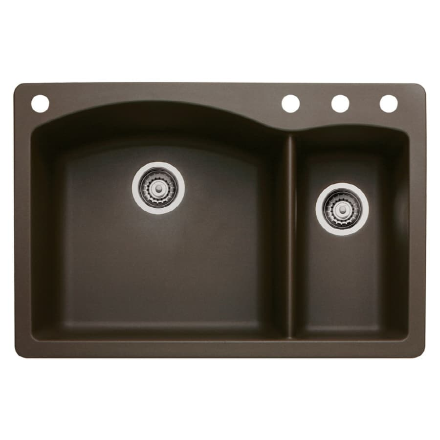 BLANCO Diamond 22-in x 33-in Cafe Brown Double-Basin Granite Drop-in or Undermount 4-Hole Residential Kitchen Sink