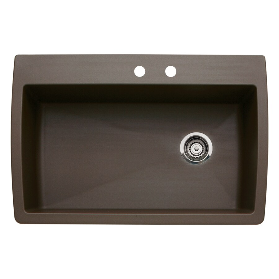 BLANCO Diamond 22-in x 33.5-in Cafe Brown Single-Basin Granite Drop-in or Undermount 2-Hole Kitchen Sink