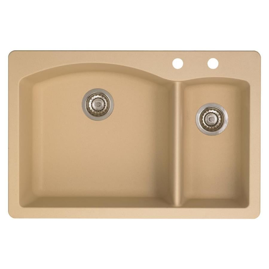 BLANCO Diamond 22-in x 33-in Biscotti Double-Basin Granite Drop-in or Undermount 2-Hole Residential Kitchen Sink