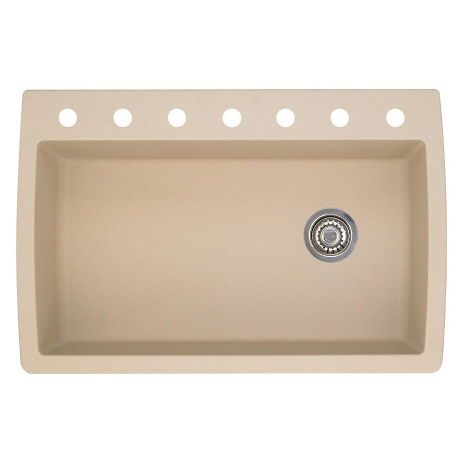 BLANCO Diamond 22-in x 33.5-in Biscotti Single-Basin Granite Drop-in or Undermount 7-Hole Residential Kitchen Sink