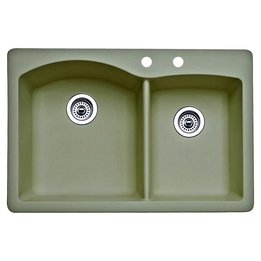 BLANCO Diamond 22-in x 33-in Truffle Double-Basin Granite Drop-in or Undermount 2-Hole Residential Kitchen Sink