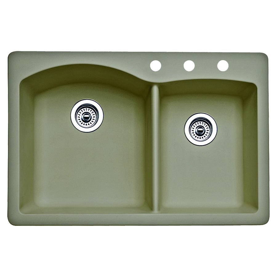 BLANCO Diamond 22-in x 33-in Truffle Double-Basin Granite Drop-in or Undermount 3-Hole Residential Kitchen Sink