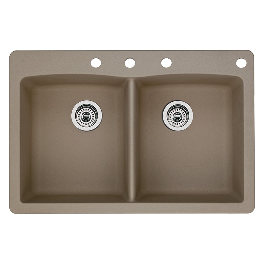 BLANCO Diamond 22-in x 33-in Truffle Double-Basin Granite Drop-in or Undermount 4-Hole Residential Kitchen Sink