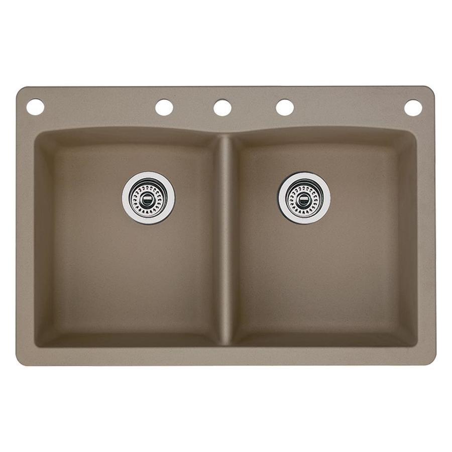 BLANCO Diamond 22-in x 33-in Truffle Double-Basin Granite Drop-in or Undermount 5-Hole Residential Kitchen Sink