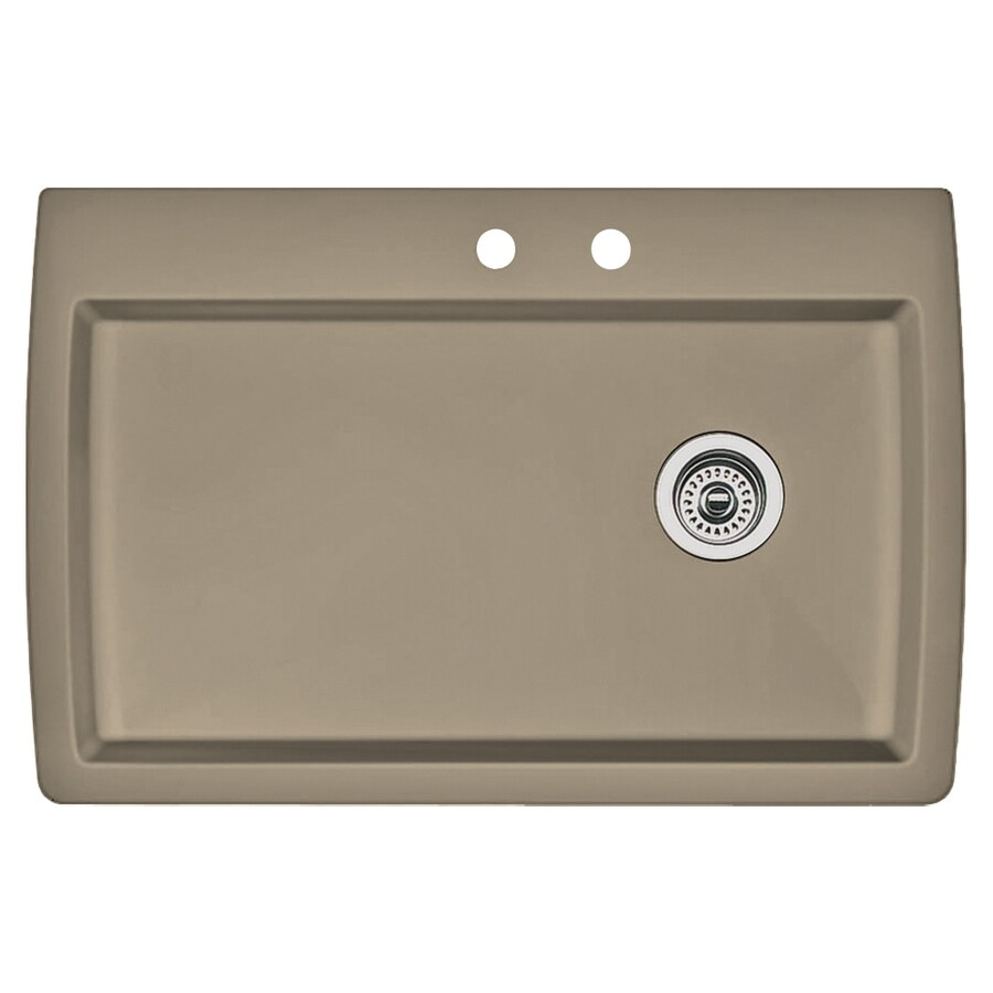 BLANCO Diamond 22-in x 33.5-in Truffle Single-Basin Granite Drop-in or Undermount 2-Hole Kitchen Sink