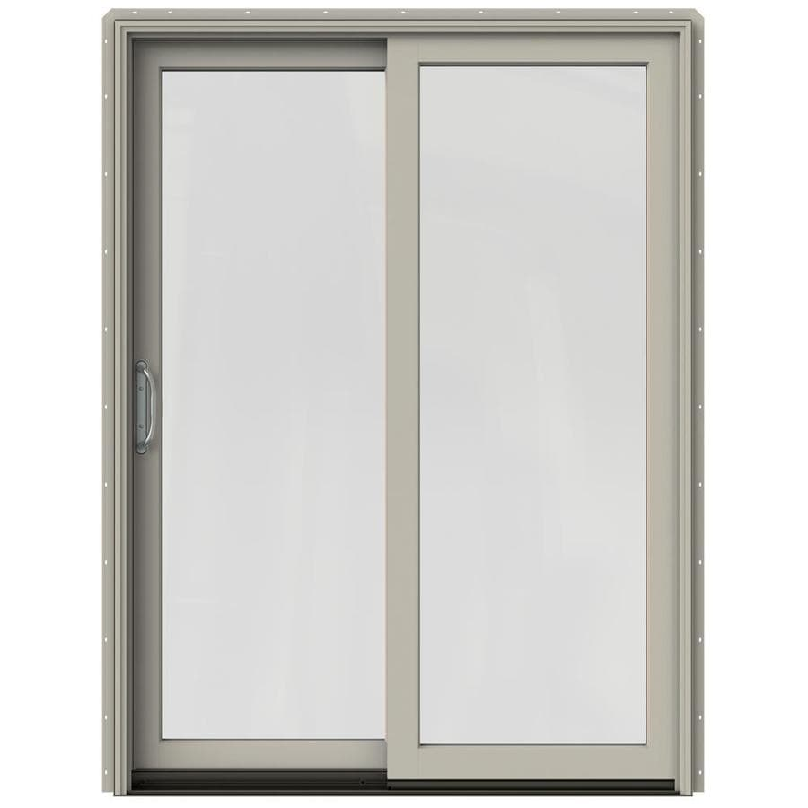 JELD-WEN W-2500 59.25-in 1-Lite Glass Desert Sand Wood Sliding Patio Door Screen Included