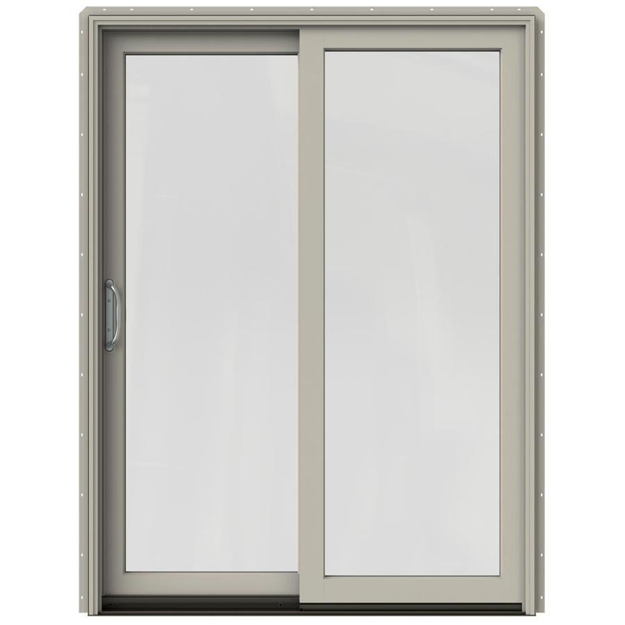 JELD-WEN W-2500 59.25-in 1-Lite Glass Desert Sand Wood Sliding Patio Door Screen Included