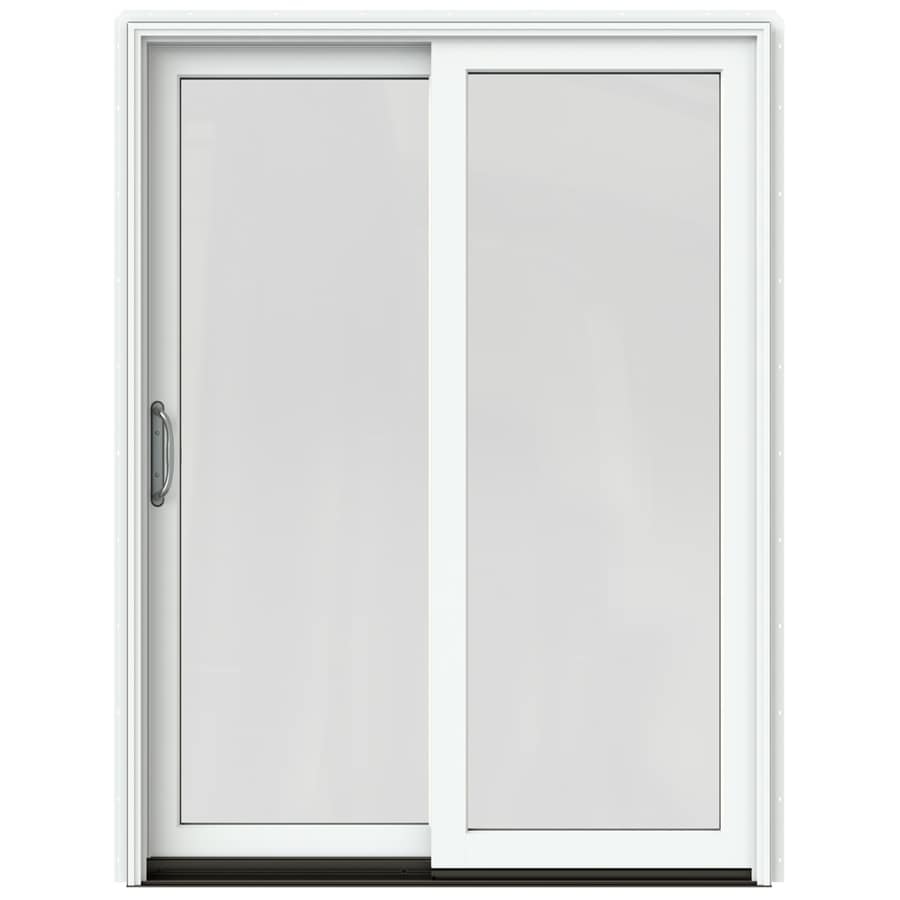 JELD-WEN W-2500 59.25-in 1-Lite Glass Brilliant White Wood Sliding Patio Door Screen Included