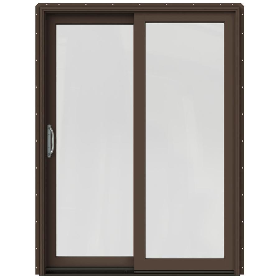 JELD-WEN W-2500 59.25-in 1-Lite Glass Dark Chocolate Wood Sliding Patio Door Screen Included