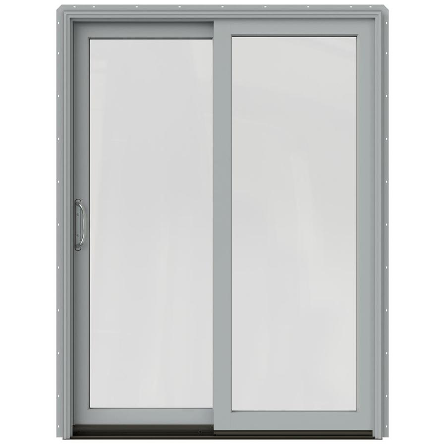 JELD-WEN W-2500 59.25-in 1-Lite Glass Arctic Silver Wood Sliding Patio Door with Screen