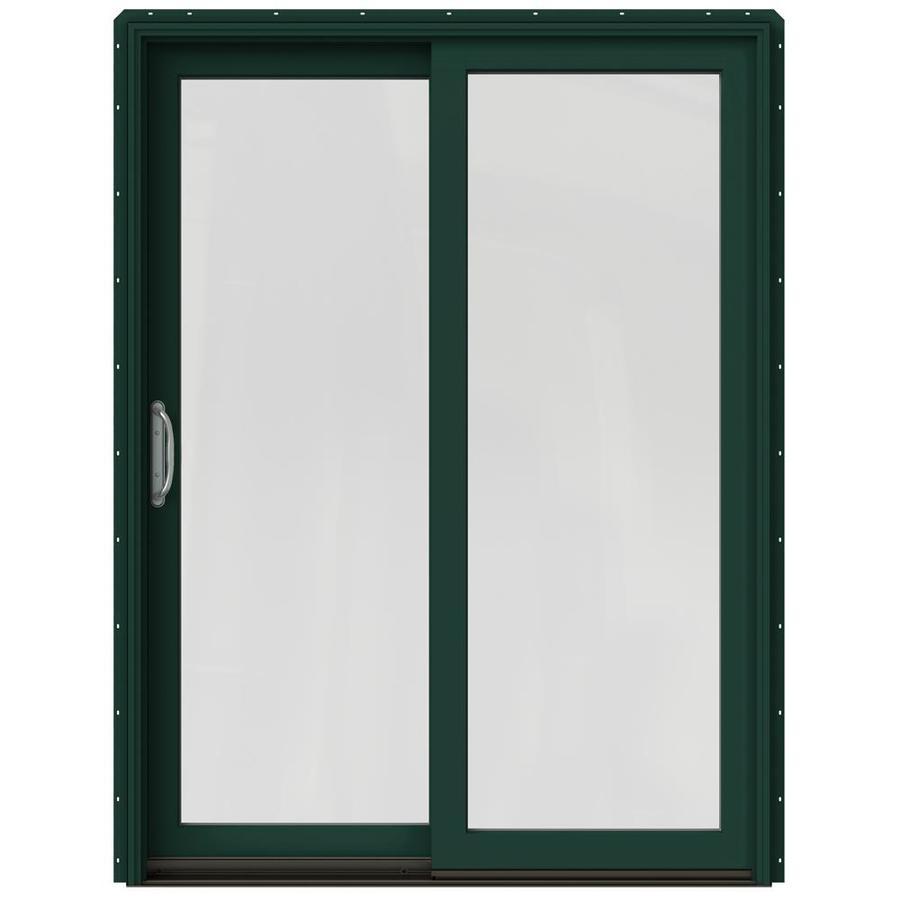 JELD-WEN W-2500 59.25-in 1-Lite Glass Hartford Green Wood Sliding Patio Door Screen Included