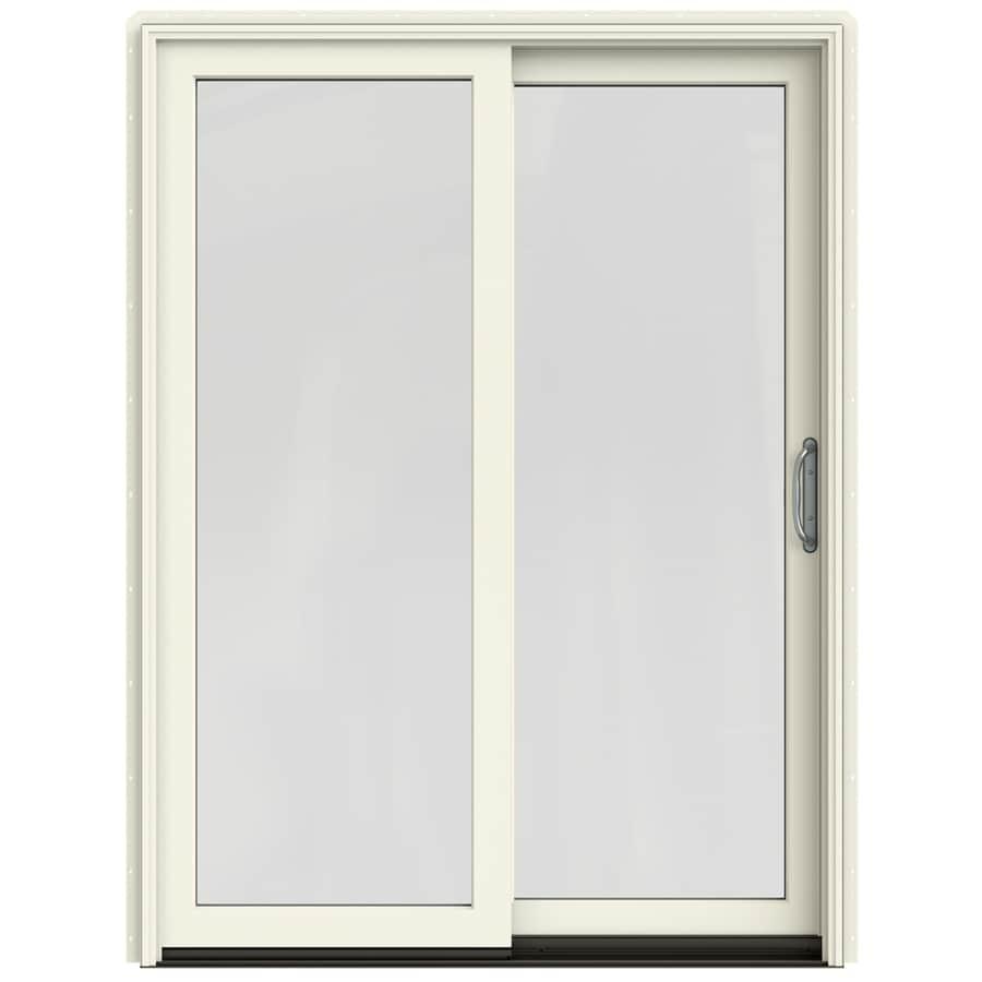 JELD-WEN W-2500 59.25-in 1-Lite Glass French Vanilla Wood Sliding Patio Door Screen Included