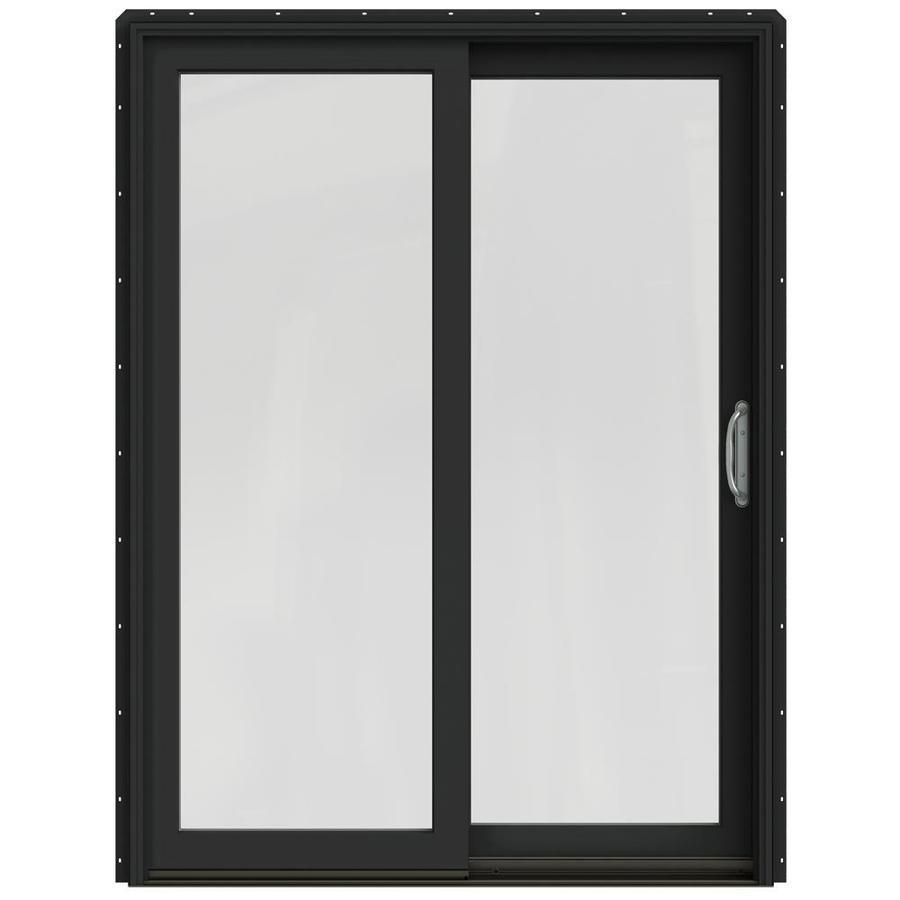 JELD-WEN W-2500 59.25-in 1-Lite Glass Chestnut Bronze Wood Sliding Patio Door Screen Included
