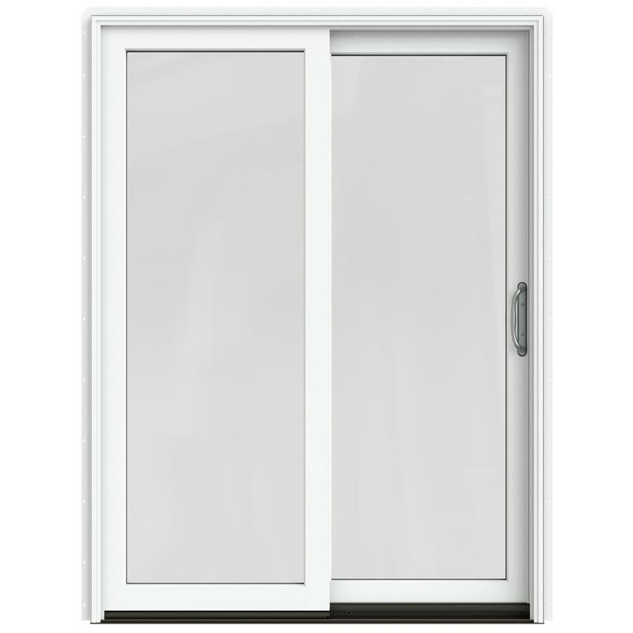 JELD-WEN W-2500 59.25-in 1-Lite Glass Brilliant White Wood Sliding Patio Door with Screen