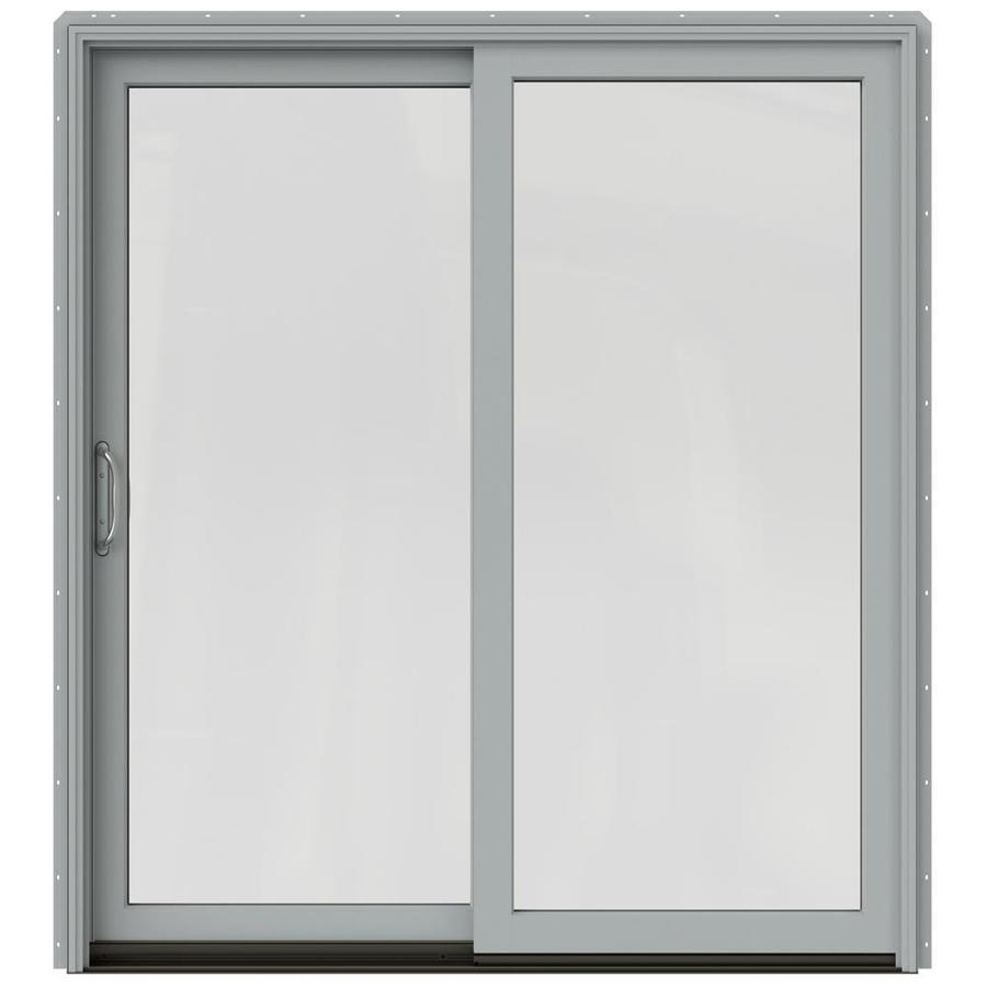 JELD-WEN W-2500 71.25-in 1-Lite Glass Arctic Silver Wood Sliding Patio Door with Screen