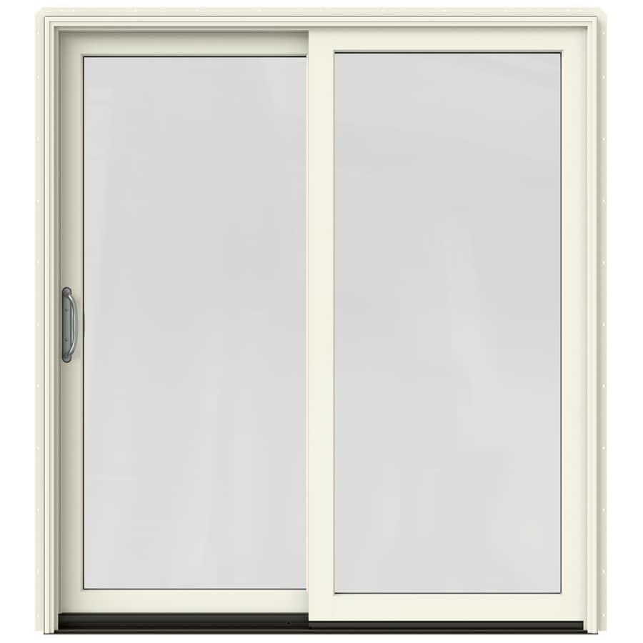 JELD-WEN W-2500 71.25-in 1-Lite Glass French Vanilla Wood Sliding Patio Door with Screen