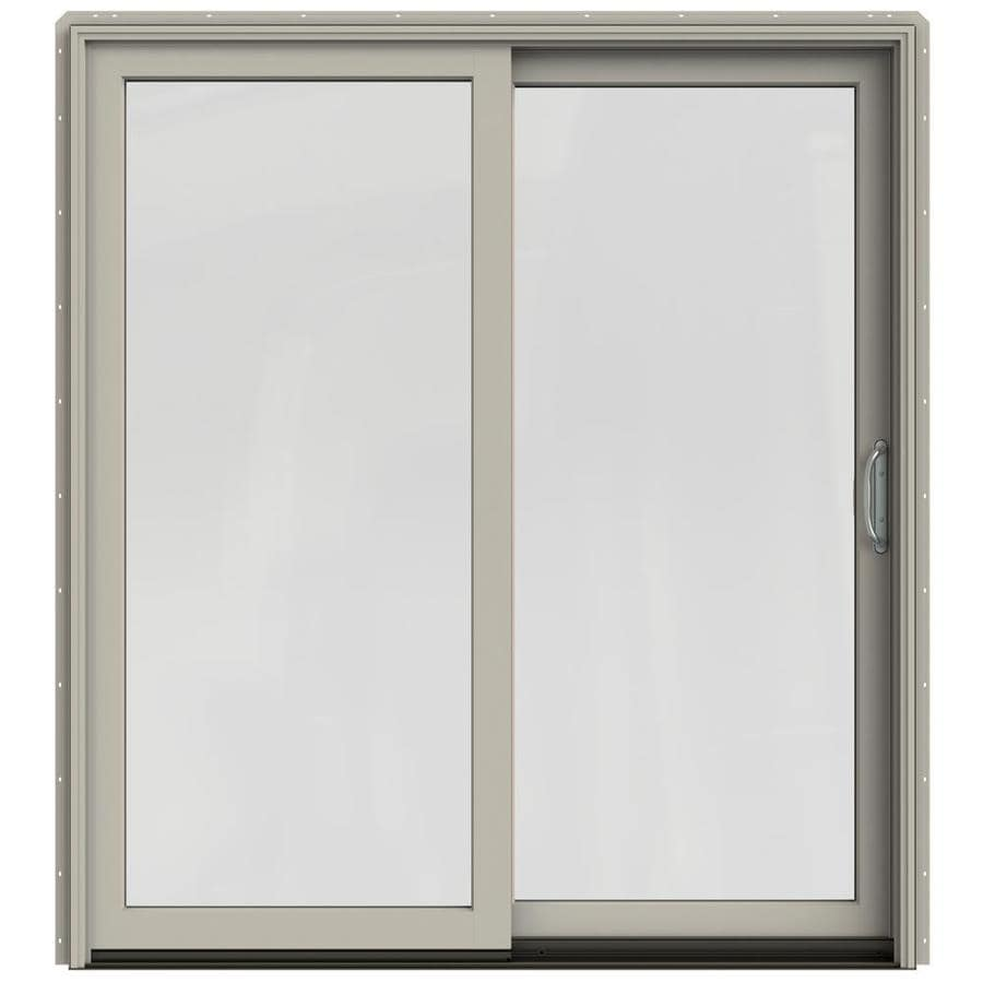 JELD-WEN W-2500 71.25-in 1-Lite Glass Desert Sand Wood Sliding Patio Door with Screen