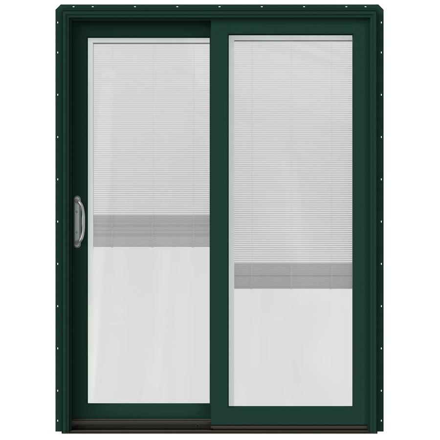 JELD-WEN W-2500 59.25-in Blinds Between The Glass Hartford Green Wood Sliding Patio Door with Screen