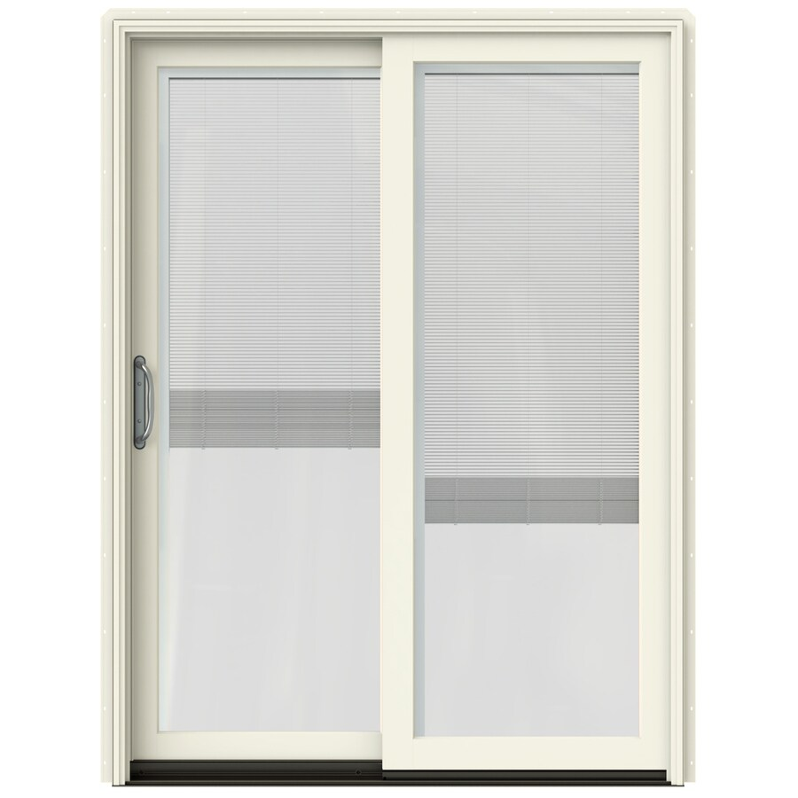 JELD-WEN W-2500 59.25-in Blinds Between the Glass French Vanilla Wood Sliding Patio Door with Screen