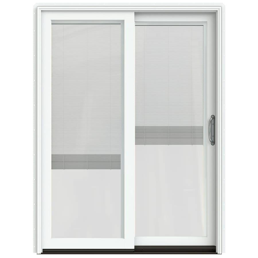 JELD-WEN W-2500 59.25-in Blinds Between the Glass Brilliant White Wood Sliding Patio Door with Screen