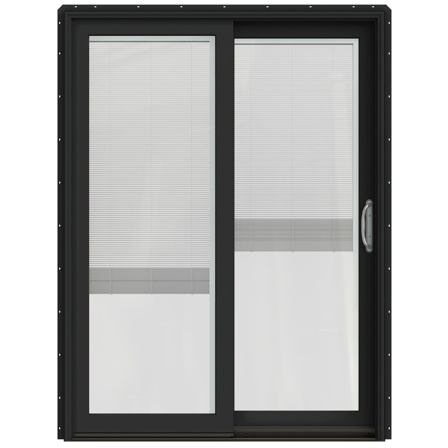 JELD-WEN W-2500 59.25-in Blinds Between The Glass Chestnut Bronze Wood Sliding Patio Door with Screen