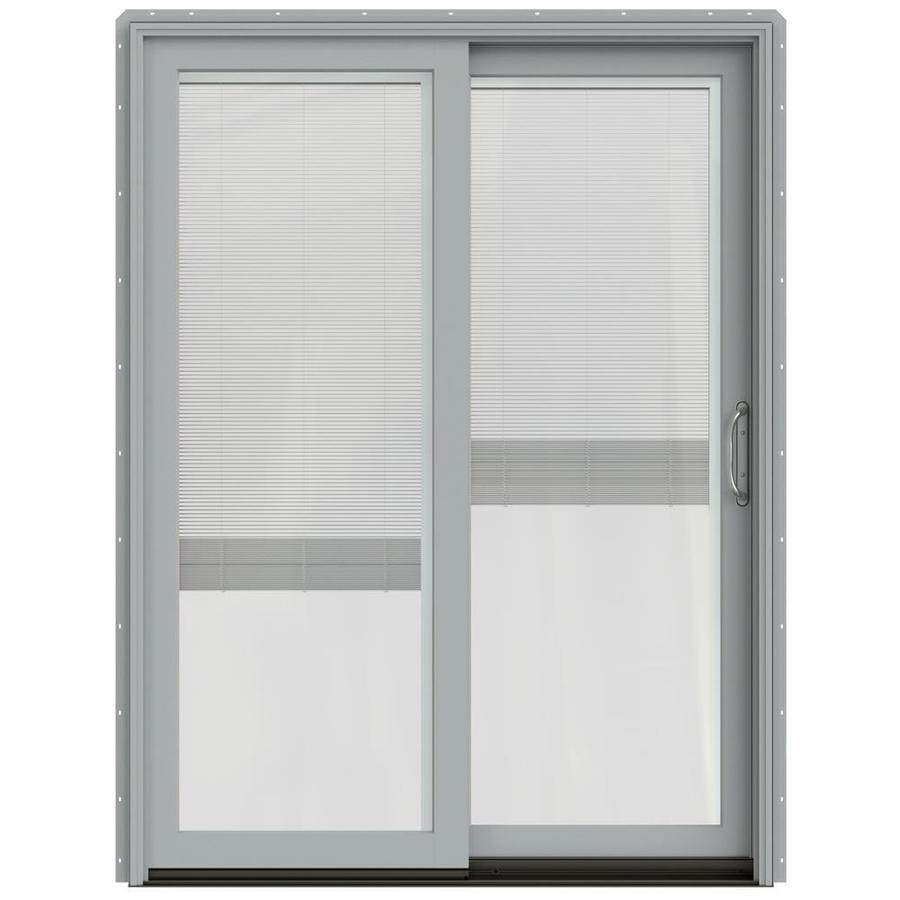 JELD-WEN W-2500 59.25-in Blinds Between The Glass Arctic Silver Wood Sliding Patio Door with Screen