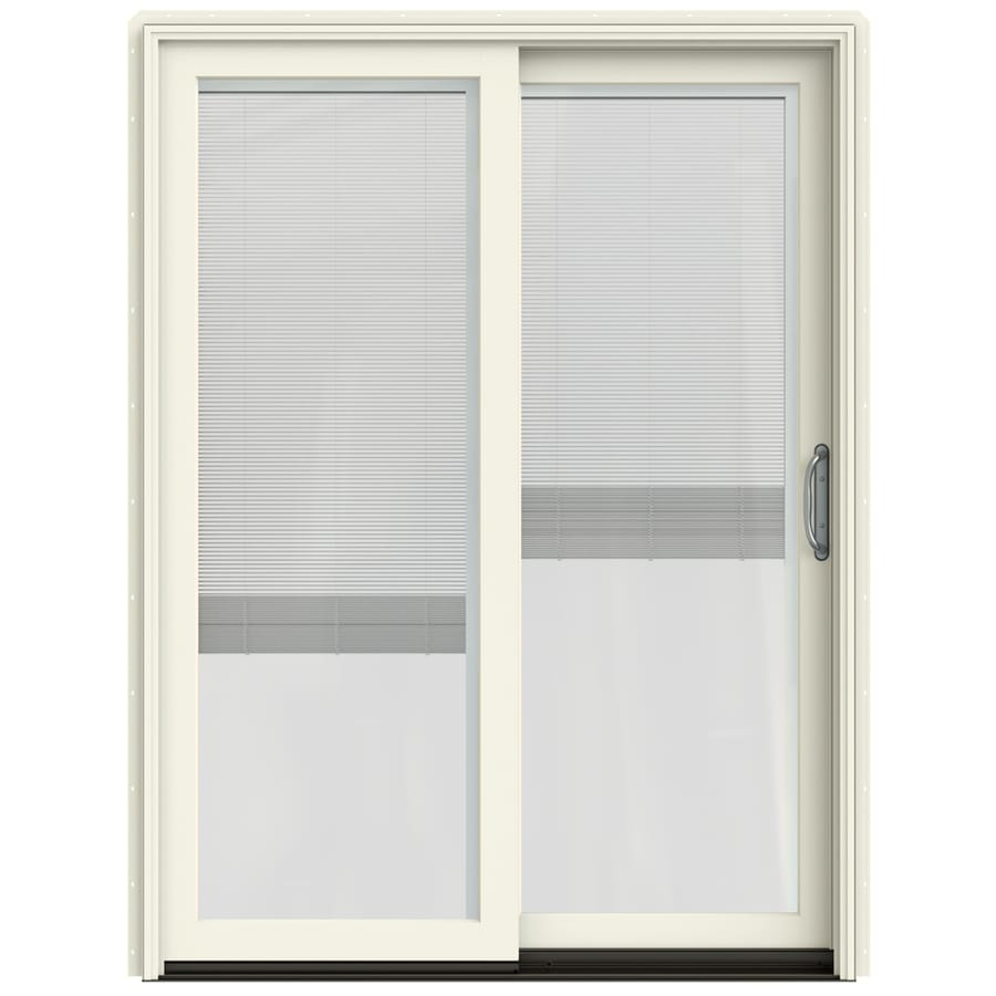 JELD-WEN W-2500 59.25-in Blinds Between the Glass French Vanilla Wood Sliding Patio Door with Screen