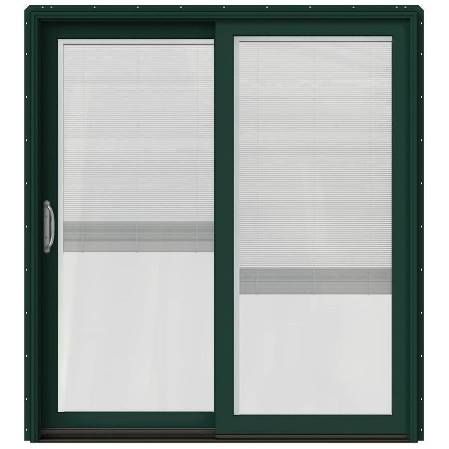 JELD-WEN W-2500 71.25-in Blinds Between The Glass Hartford Green Wood Sliding Patio Door with Screen