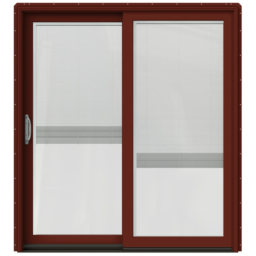 JELD-WEN W-2500 71.25-in Blinds Between the Glass Mesa Red Wood Sliding Patio Door with Screen