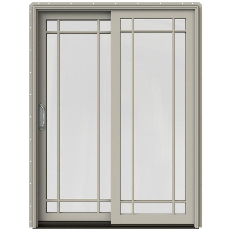 JELD-WEN W-2500 59.25-in Grid Glass Desert Sand Wood Sliding Patio Door with Screen