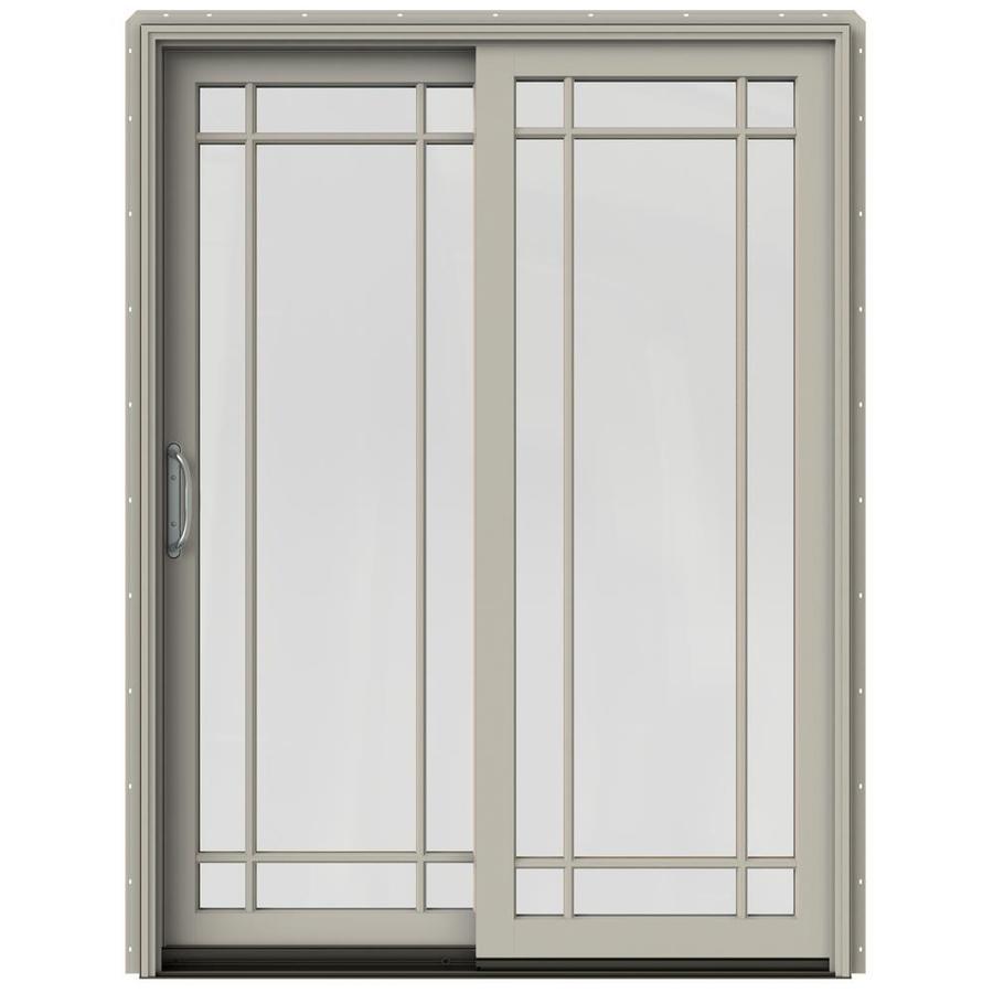 JELD-WEN W-2500 59.25-in Grid Glass Desert Sand Wood Sliding Patio Door Screen Included