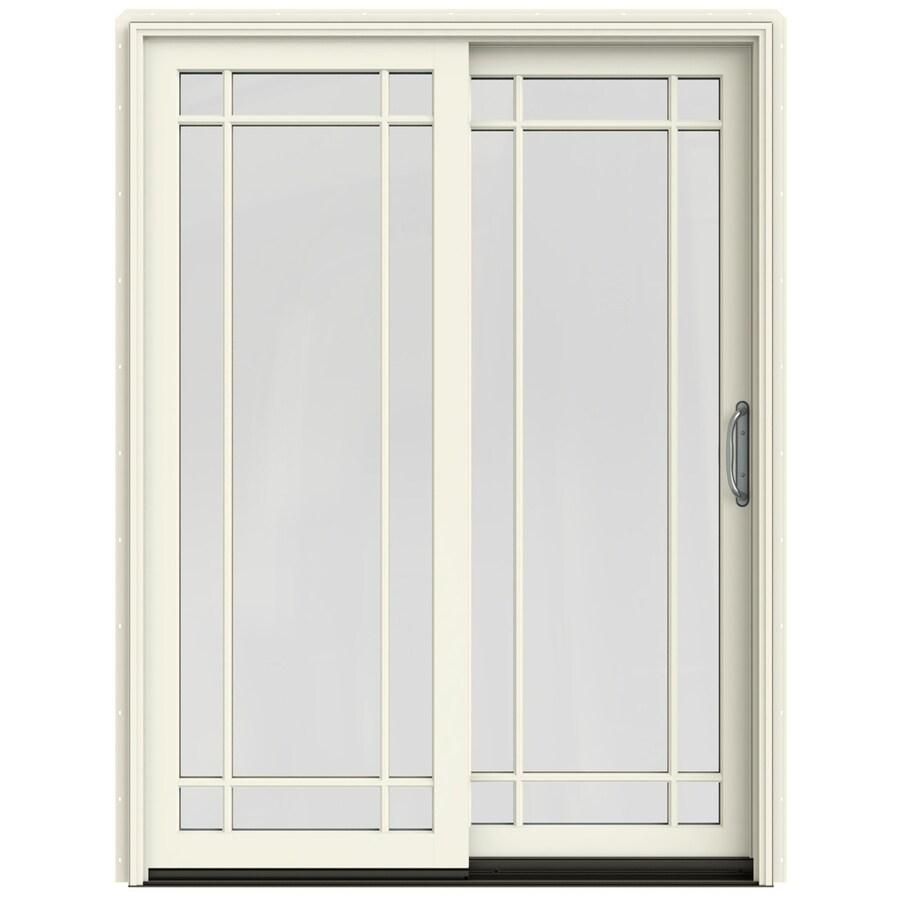 JELD-WEN W-2500 59.25-in Grid Glass French Vanilla Wood Sliding Patio Door with Screen