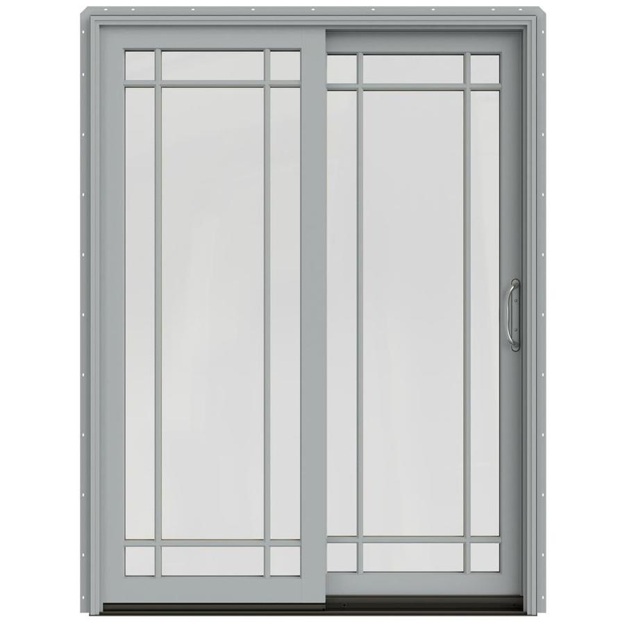 JELD-WEN W-2500 59.25-in Grid Glass Artict Silver Wood Sliding Patio Door with Screen