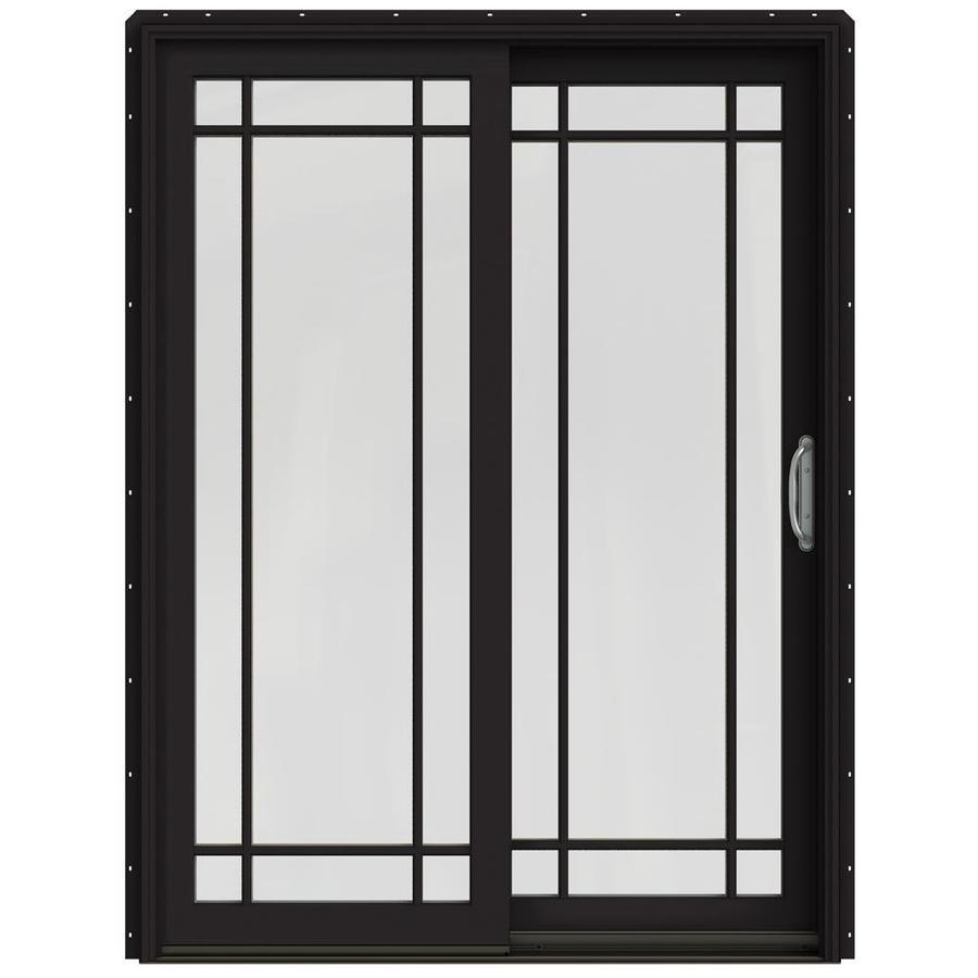 JELD-WEN W-2500 59.25-in Grid Glass Black Wood Sliding Patio Door with Screen