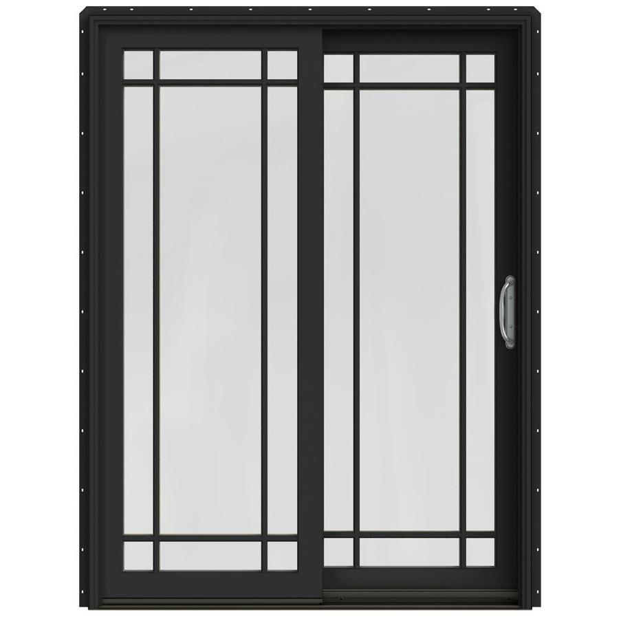 JELD-WEN W-2500 59.25-in Grid Glass Chestnut Bronze Wood Sliding Patio Door Screen Included