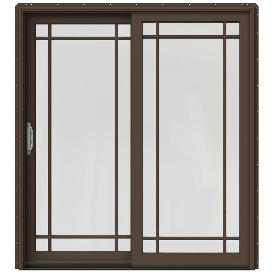 JELD-WEN W-2500 71.25-in Grid Glass Dark Chocolate Wood Sliding Patio Door Screen Included