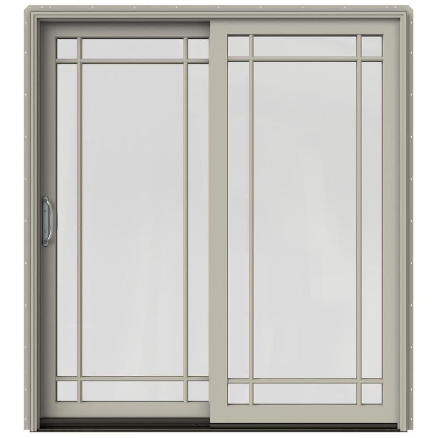 JELD-WEN W-2500 71.25-in Grid Glass Desert Sand Wood Sliding Patio Door with Screen