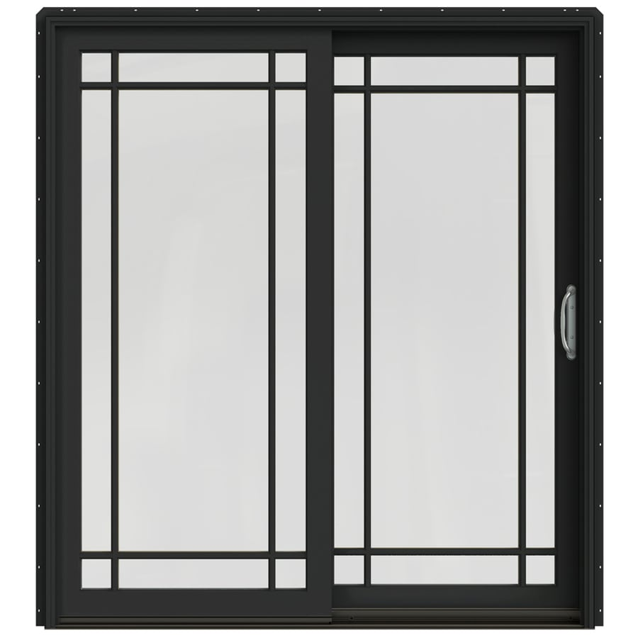 JELD-WEN W-2500 71.25-in Grid Glass Chestnut Bronze Wood Sliding Patio Door with Screen