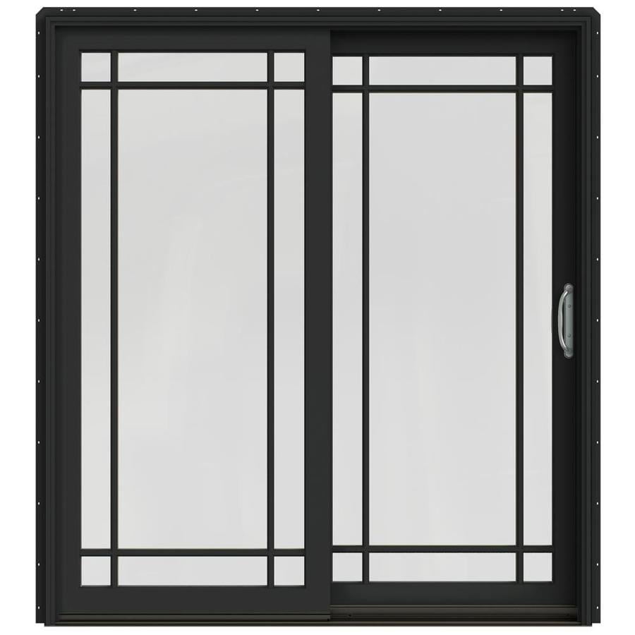 JELD-WEN W-2500 71.25-in Grid Glass Chestnut Bronze Wood Sliding Patio Door with Screen