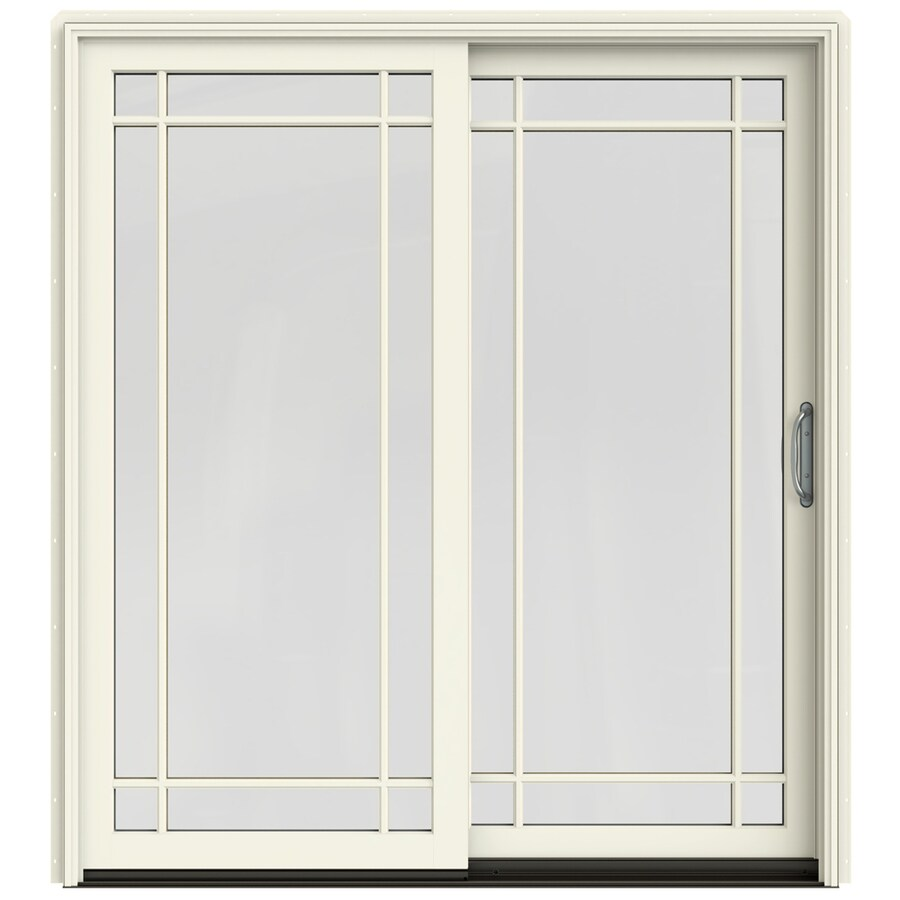 JELD-WEN W-2500 71.25-in Grid Glass French Vanilla Wood Sliding Patio Door with Screen