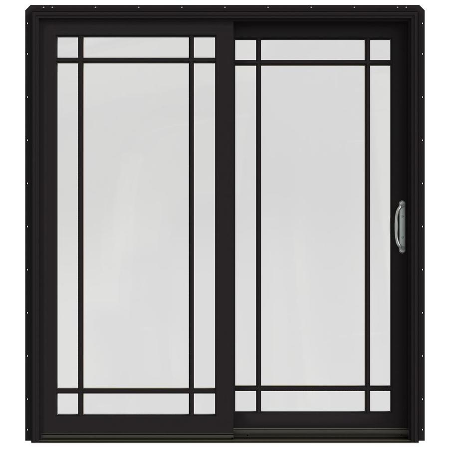 JELD-WEN W-2500 71.25-in Grid Glass Black Wood Sliding Patio Door with Screen