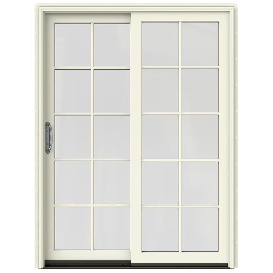 JELD-WEN W-2500 59.25-in 10-Lite Glass French Vanilla Wood Sliding Patio Door Screen Included