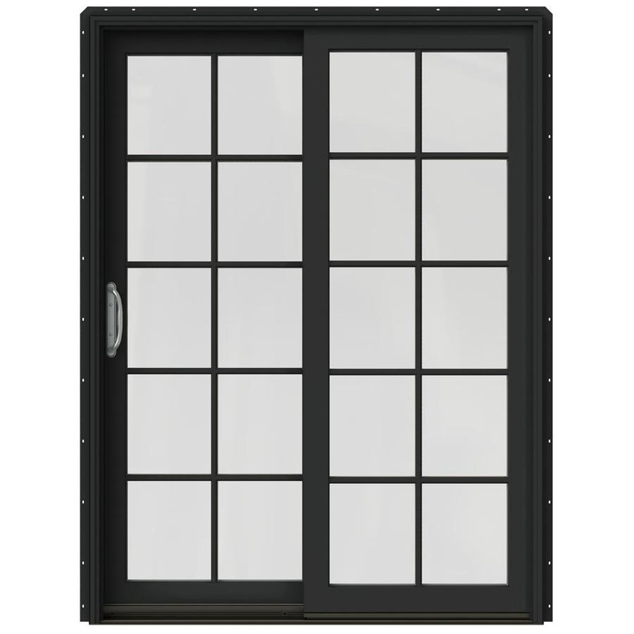 JELD-WEN W-2500 59.25-in 10-Lite Glass Chestnut Bronze Wood Sliding Patio Door with Screen