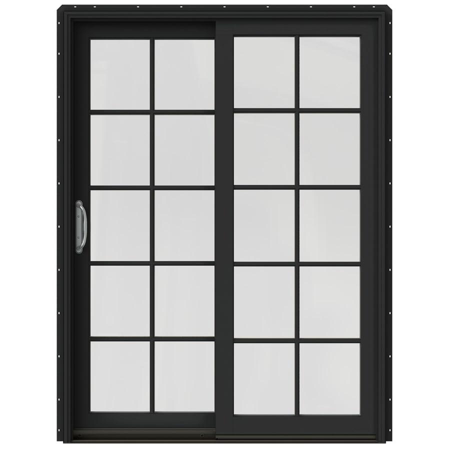 JELD-WEN W-2500 59.25-in 10-Lite Glass Chestnut Bronze Wood Sliding Patio Door with Screen