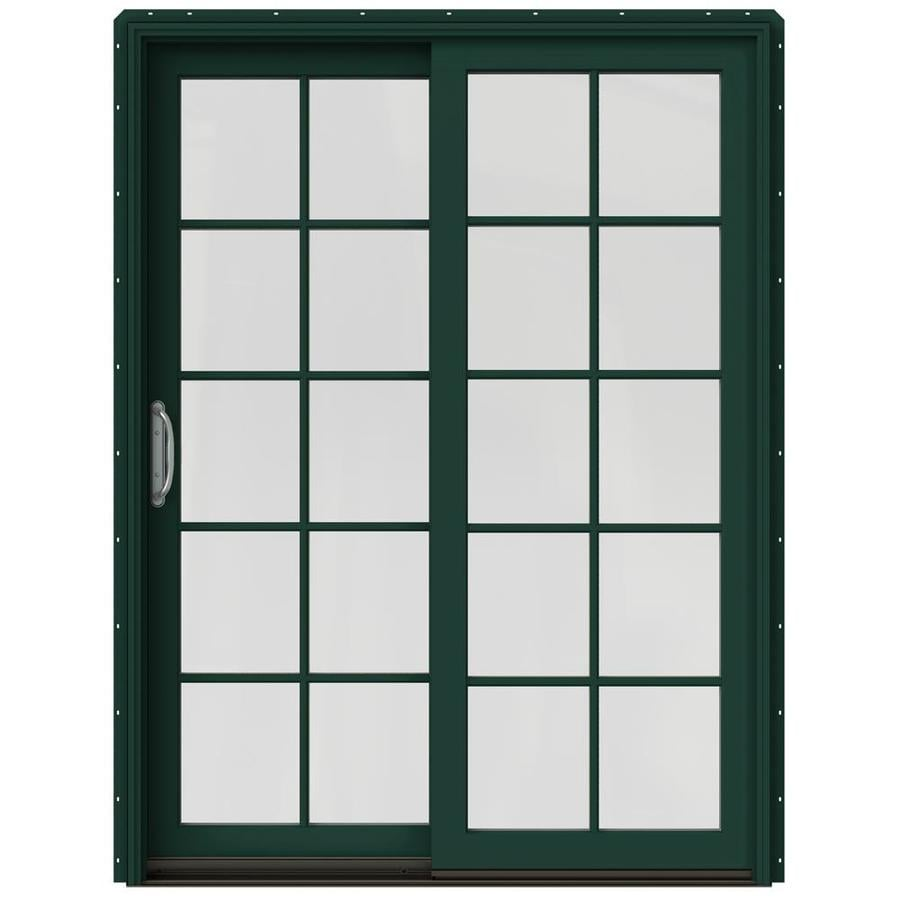 JELD-WEN W-2500 59.25-in 10-Lite Glass Hartford Green Wood Sliding Patio Door Screen Included