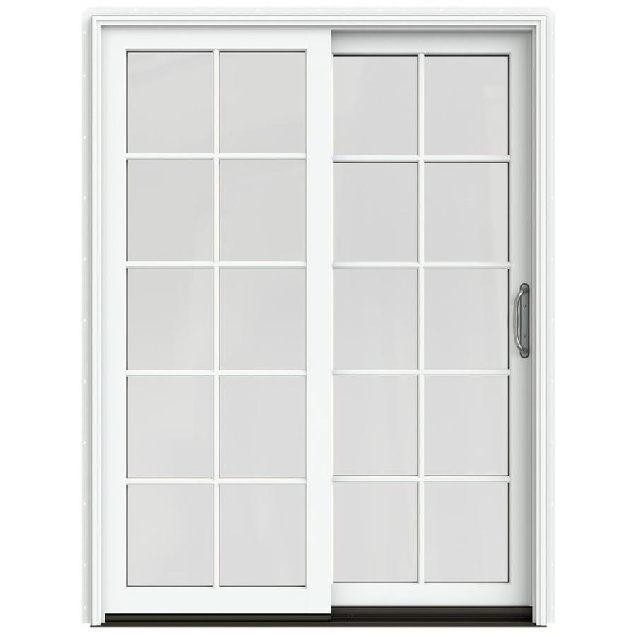 JELD-WEN W-2500 59.25-in 10-Lite Glass Brilliant White Wood Sliding Patio Door Screen Included